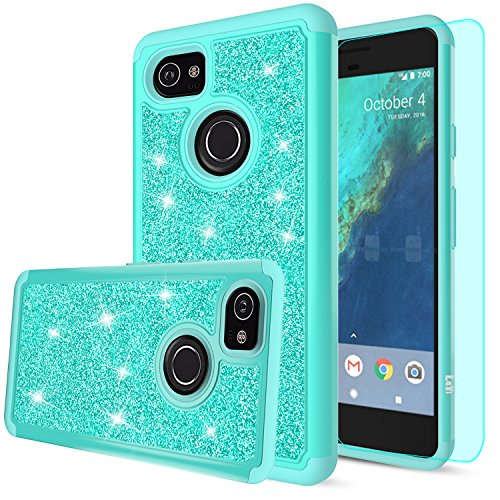 Google Pixel 2 XL Case,Google Pixel XL 2 Case with HD Screen Protector,LeYi Hybrid Heavy Duty Protection Cute Girls Women Shockproof Glitter Bling Phone Case for Google Pixel 2 XL (2017) TP Mint