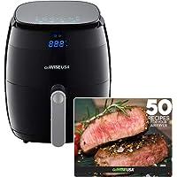 GoWISE USA 5.0-Quart 1500-Watt Digital Air Fryer with 8 Presets, GW22821-S + 50 Recipes (Black)