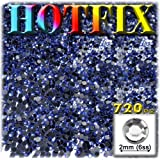 The Crafts Outlet DMC HOTFIX Iron on Superior Quality Glass 720-Piece Round Rhinestone Embellishment, 2mm, Royal Blue