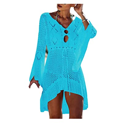 Wander Agio Beach Tops Sexy Floral Knit Cover Dresses Bikini Cover-ups Net Hollow Out Light Sky Blue at Women's Clothing store
