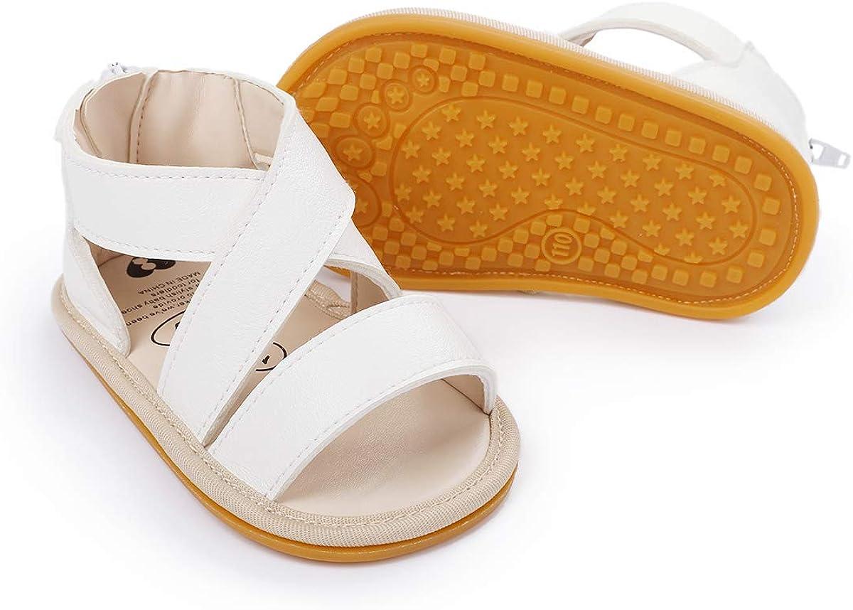   BENHERO Baby Toddler Infant Girls PU Leather Soft Sole Closed Toe Anti-Slip Summer Sandals Flower Princess Flat Shoes   Sandals