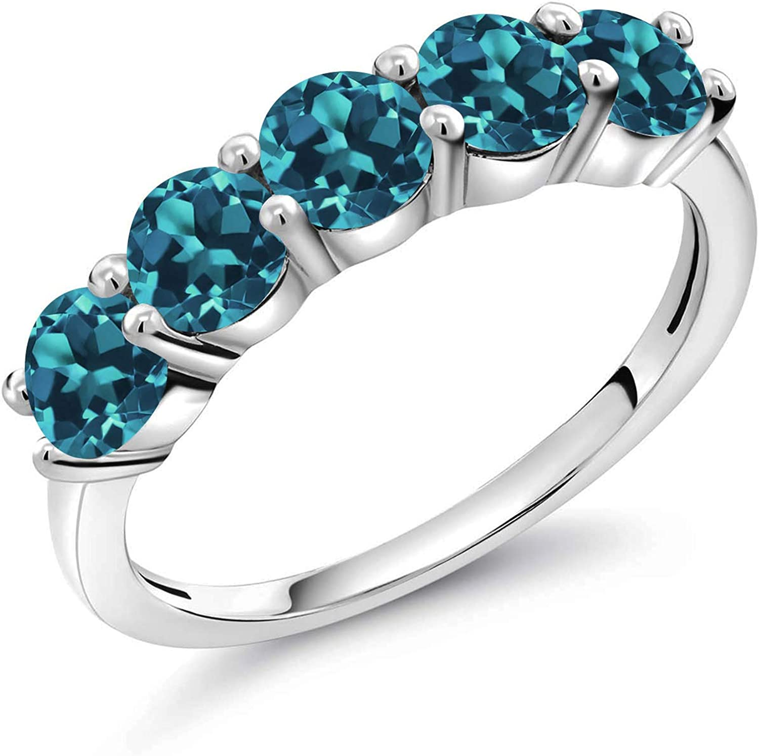 Details about  /Full Eternity 0.50 Cts London Blue Topaz 925 Sterling Silver Stacking Bridal Rin