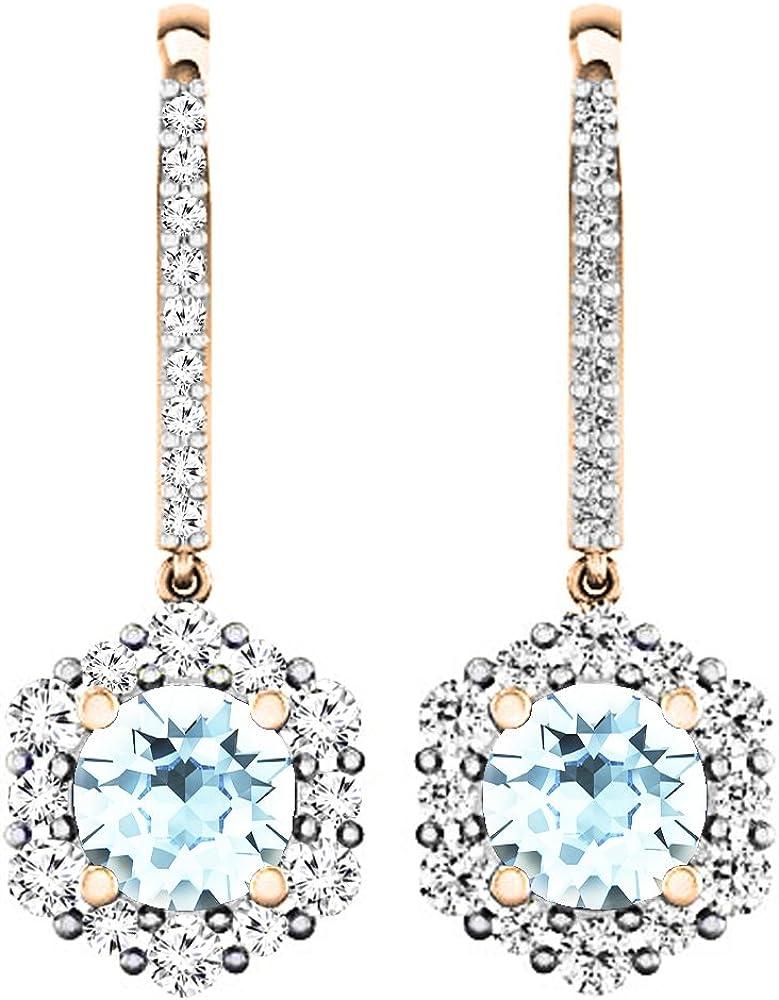 Pendientes colgantes de oro rosa de 18 quilates redondos de 4,5 mm de cada piedra preciosa y diamante para mujer