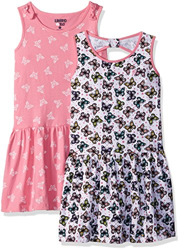 Limited Too Girls' Toddler Pack Dress, Drop Waist Butterfly Jersey Multi Print, 3T