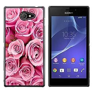 iKiki Tech / Estuche rígido - Roses Valentines Love Pink Girlfriend Spring - Sony Xperia M2