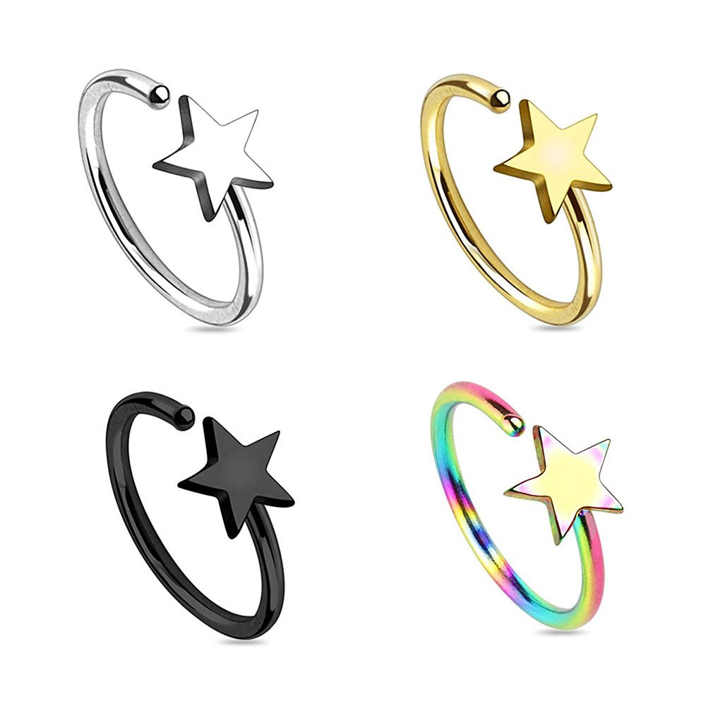 Pack of 4 Nose Hoop Rings 20G Annealed Surgical Steel - 4 Variations BodyJewelryOnline 657379888311