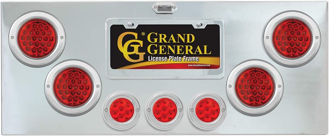 U Bracket and Chrome Plastic Rim with Visor GG Grand General 91592 Red//Clear Plated Light Panel with 4 inches and 2-1//2 inches Pearl LED