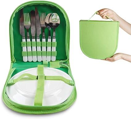Picnic Bag Outdoor Camping BBQ Spoon Fork Tableware Flatware Organizer Case