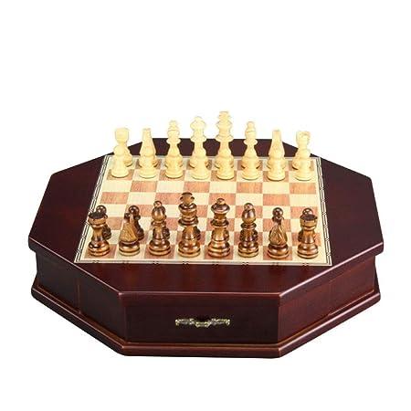 Liuxiaomiao Ajedrez Juego de ajedrez de Madera Octagonal con ...