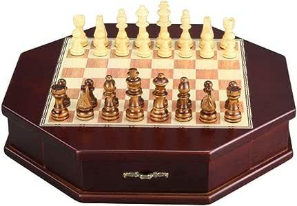 Ajedrez Juego de ajedrez de madera octagonal con tablero de madera de lujo y almacenamiento. Piezas de ajedrez de madera hechas a mano. Juegos para niños y adultos ( Color : Red , Size : 31*31*6cm )