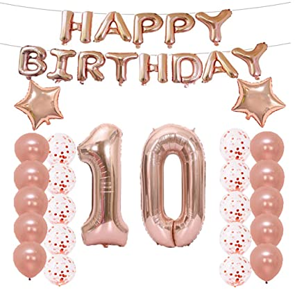 10th Birthday Decorations Party Supplies10th Balloons Rose GoldNumber 10 Mylar Balloon