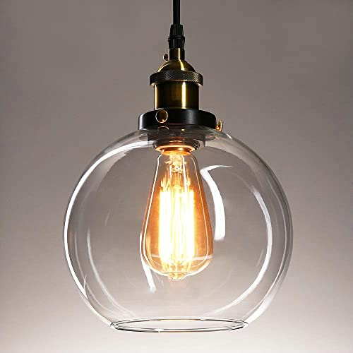 Vintage glass pendant light ceiling lamp shade industrial kitchen frideko vintage industrial ball glass lampshade ceiling pendant light for home office bedroom coffee shop mozeypictures Image collections