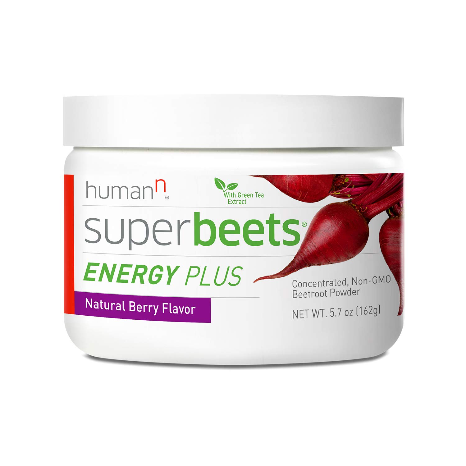 HumanN SuperBeets Energy Plus Superfood Concentrated Non-GMO Beetroot Supplement with Green Tea Extract (Natural Berry Flavor, 5.7-Ounce)