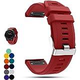 Correa de repuesto para reloj Garmin Fenix 5 Multisport GPS, de la marca Ifeeker. Correa de silicona de instalación rápida, color rojo
