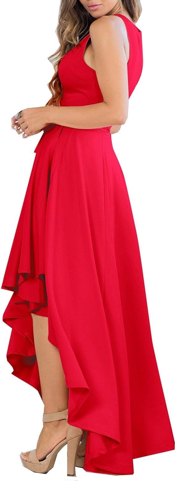 Women's Sexy V Neck Sleeveless High Low Hem Elegant Dress Cocktail Evening Party Dresses