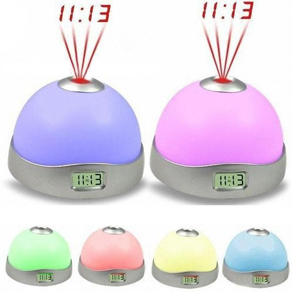 LiPing 7 Colors LED Change Star Sunrise Alarm Clock -Night Light Magic Projector Backlight (A)