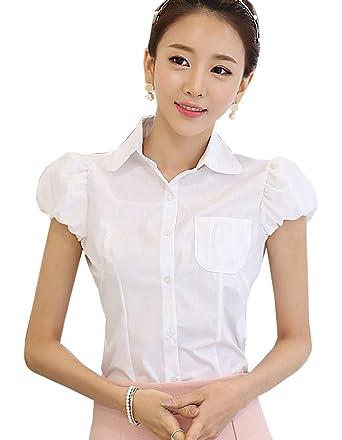 55779862 DQQ Women's Cotton Puff Sleeve Slim Fit Button Down Shirt Blouse 2XL White