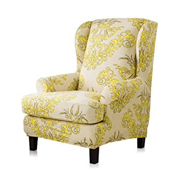 TIKAMI Wing Chair Covers Stretch Spandex Sofa Covers Furniture Protector with Arms Elastic Bottom (Yellow Pattern)