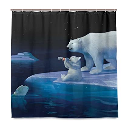 A lie Coca Cola Polar Bears Shower Curtain - Water, Soap, and Mildew  resistant - Machine Washable - Shower Hooks are Included
