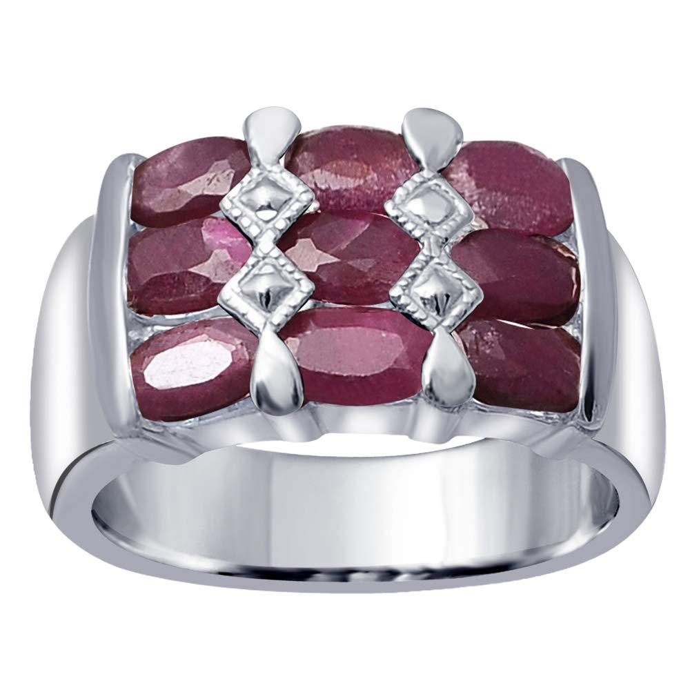 Orchid Jewelry 925 Sterling Silver Ruby Cocktail Unisex Ring, (Size 6)