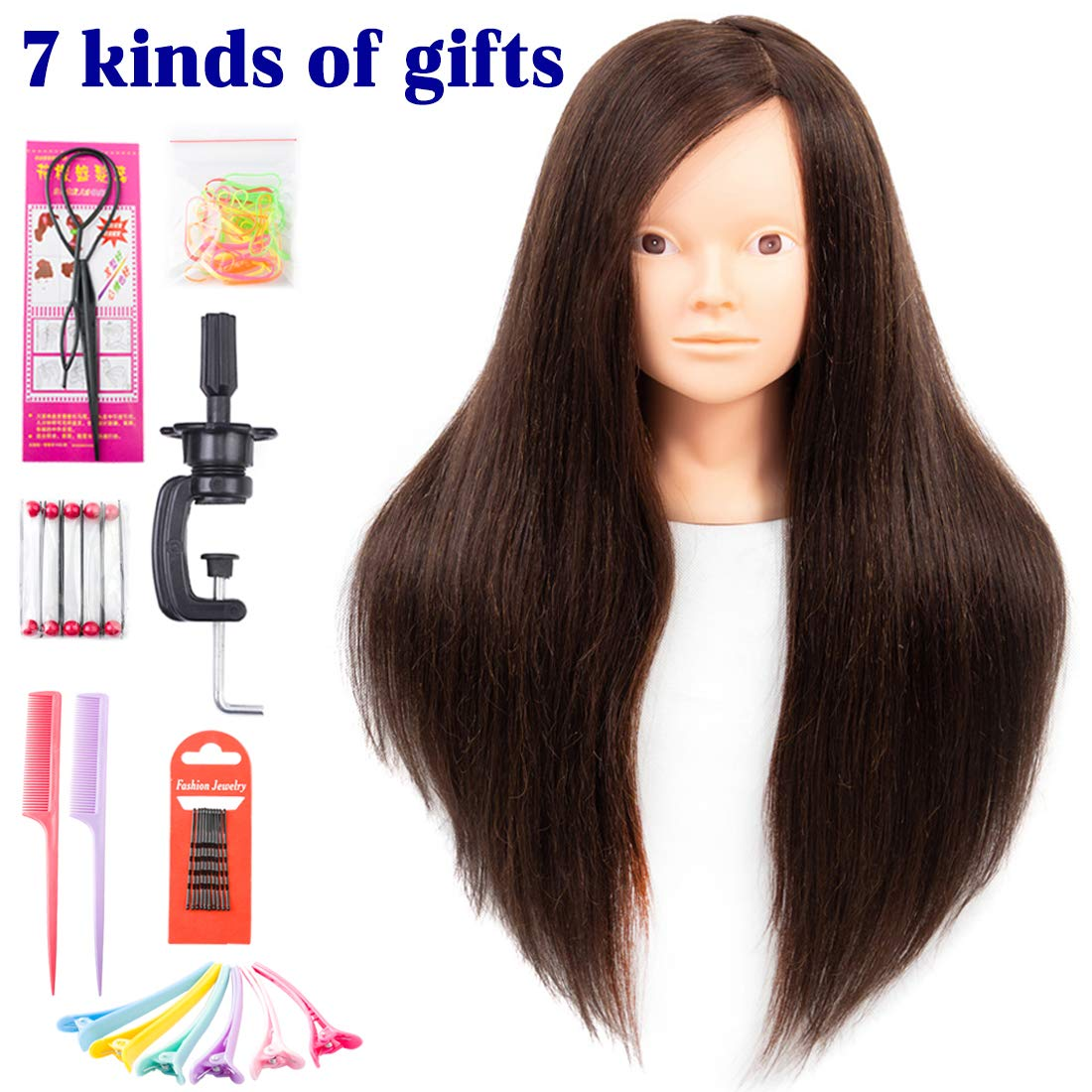 Mannequin Head with Human Hair 60% Straight Professional Bride Hairdressing Training Head with Stand Cosmetology Doll Head for Styling Braid Curl Cut Practice (26 inch without make-up, 4#)