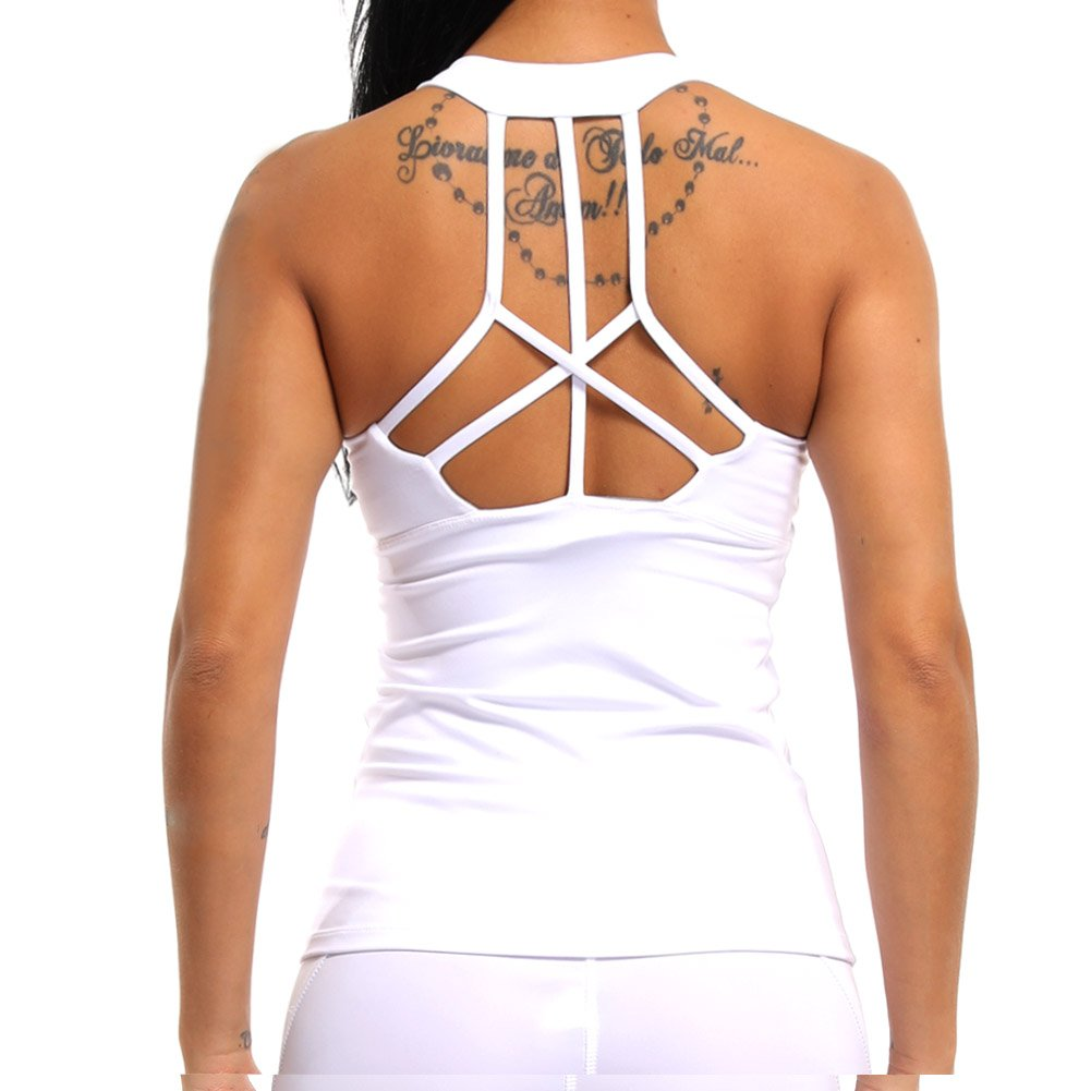 COLO Women Yoga Tank Top Workout Tops Open Back Racerback Built in Bra Removable Pad -Cross White(M)