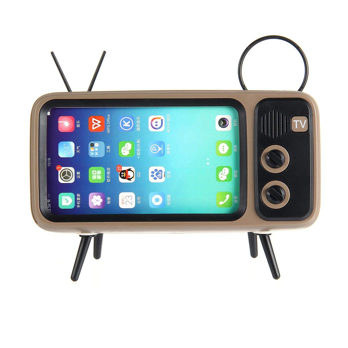 Womdee Retro TV Bluetooth Speaker V4.2 Brown TF Card Slot 3D Stereo Sound Quality Portable Loudspeaker Also Cell Phone holder Art Decoration AUX FM Bluetooth Optional Vintage Wireless Radio