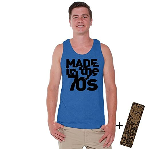 ee986b013d26f4 Awkwardstyles Men s Made in The 70s Tank Top Retro Old School Tank +  Bookmark S Blue