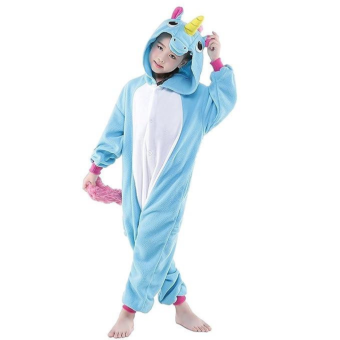 JT-Amigo Disfraz de Pijama Animales para Niños, Unicornio Azul, 2-3