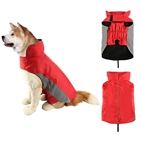SymbolLife Abrigo Chaqueta para Perros Impermeable Chaqueta de Invierno Traje Reflectante Fleece de Nylon Forrado cálido