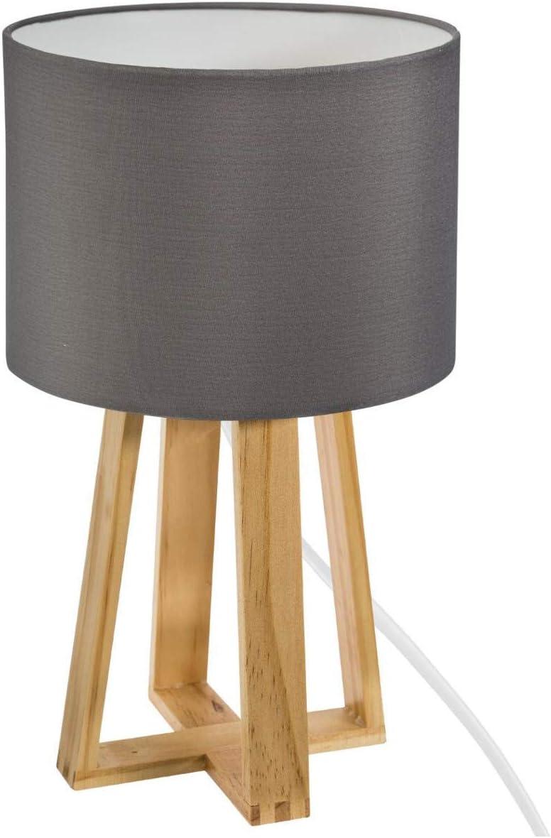 Lampe Pied Bois et Abat-Jour Gris molu H35 Atmosphera