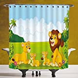 SCOCICI Waterproof Shower Curtain 3.0 by [Nursery,Cartoon Style Lion Family in the Forest Africa Savannah Safari Habitat Decorative,Green Pale Blue Yellow ] Digital Print Polyester Fabric Bathroom Se