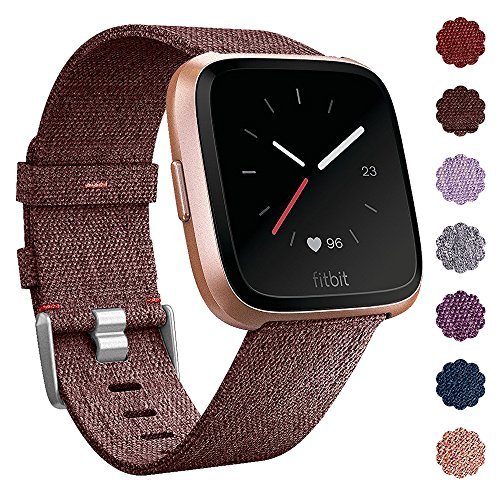 QIBOX Fitbit Versa Bands, Woven Fabric Wrist Strap Quick Release Watch Band with Classic Square Stainless Steel Buckle for Fitbit Versa Fitness Smart - Fabric Woven Leather