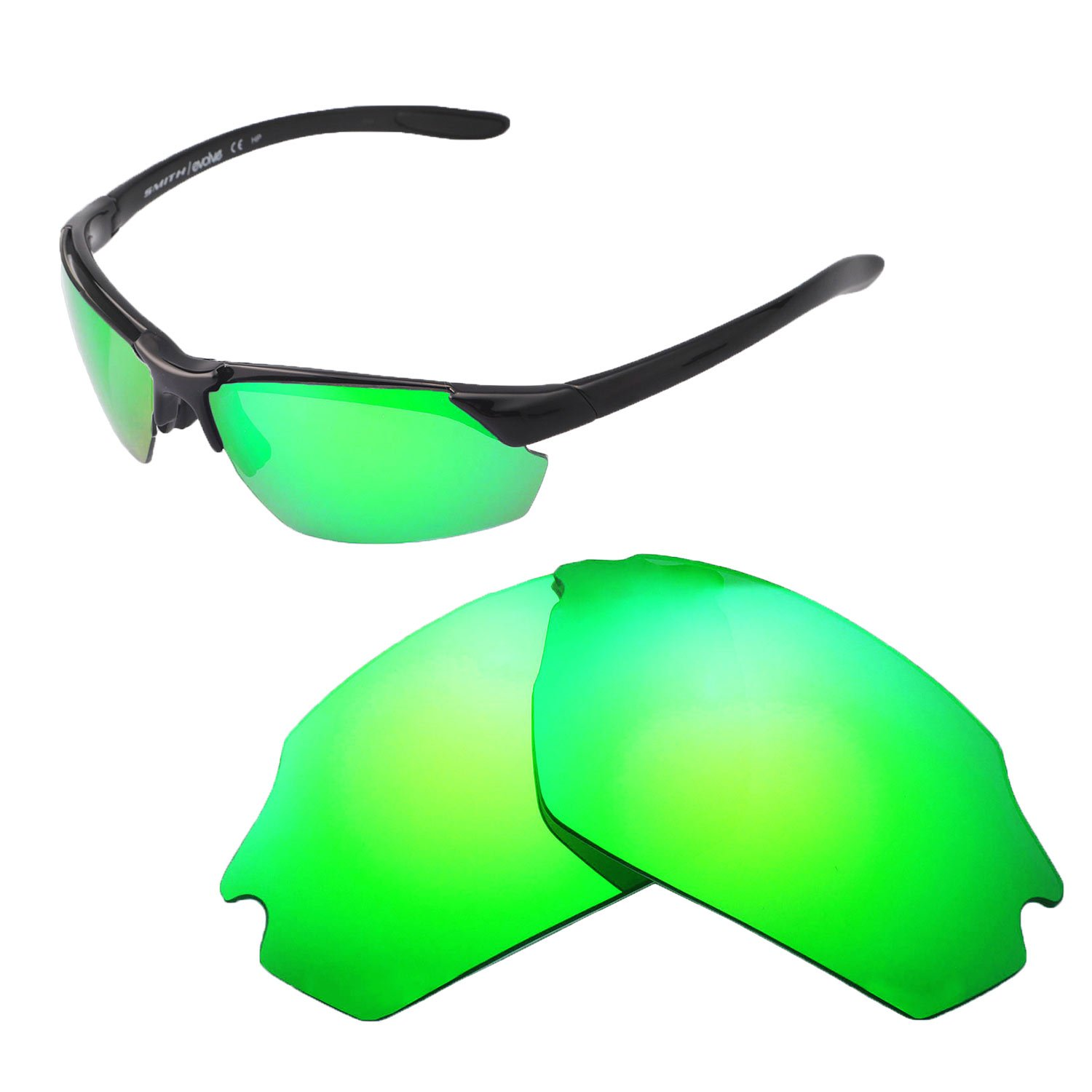 Walleva Replacement Lenses For Smith Parallel Max Sunglasses - Multiple Options available (Emerald - Polarized) by Walleva