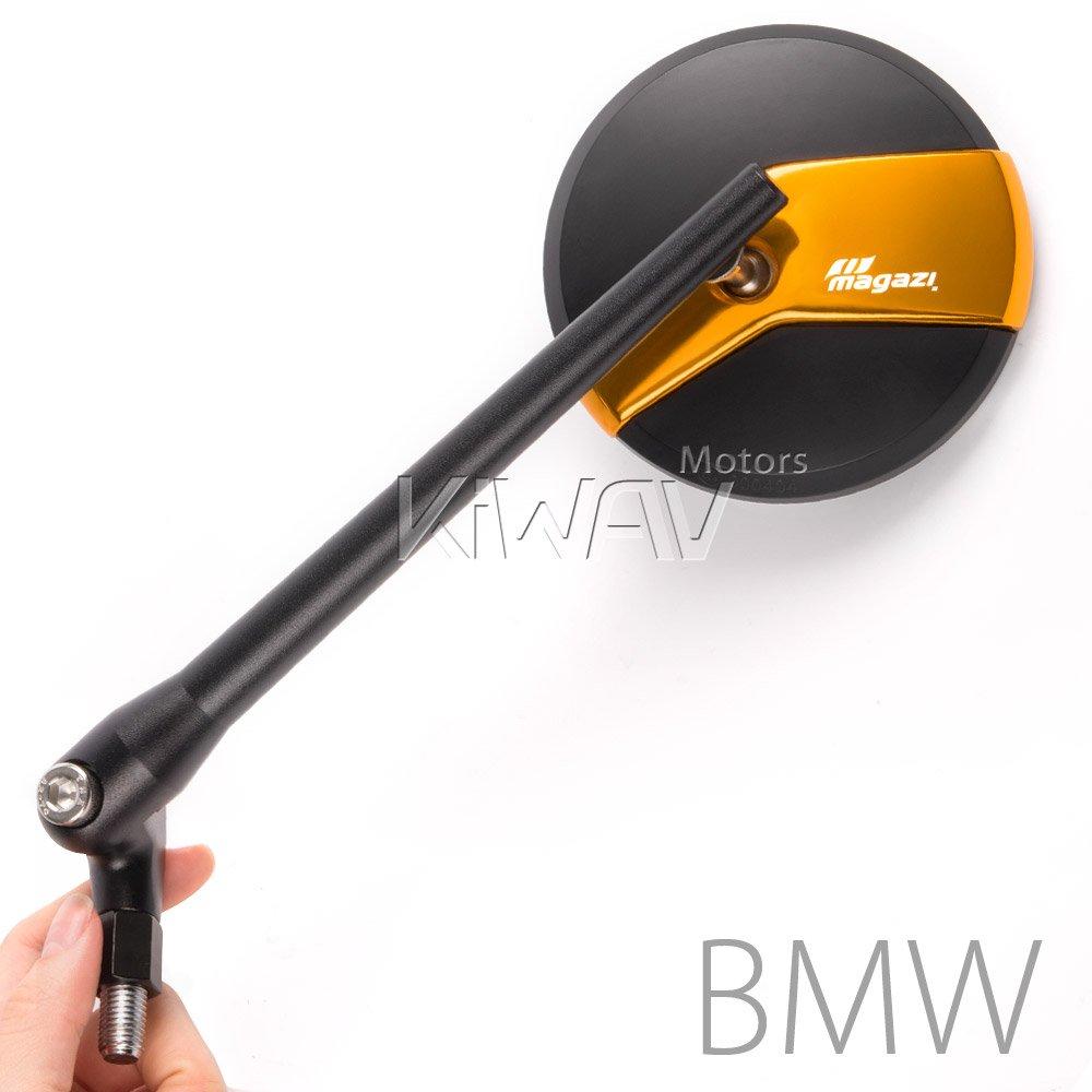 MAGAZI マガジ ミシー バイクミラー 黒と金色 左右セット 10mm 1.5 pitch BMWに適用 B010N9BBVE