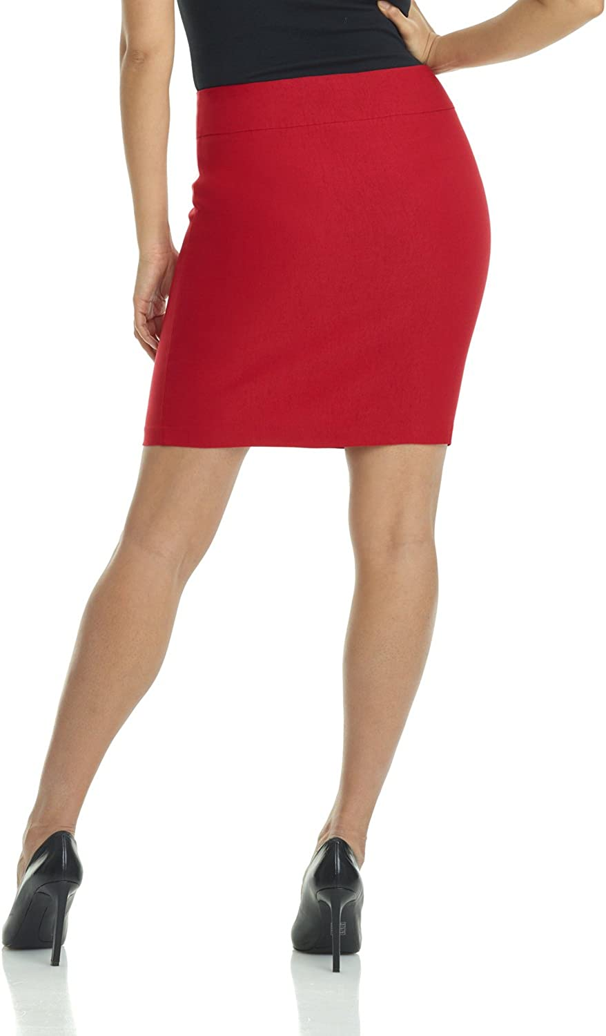 Small,Red Rekucci Womens Ease Into Comfort Above The Knee Stretch Pencil Skirt 19 inch