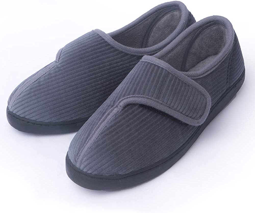 Git-up Mens Diabetic Slippers Arthritis Edema Adjustable Closure W//Memory Foam Indoor//Outdoor Shoes