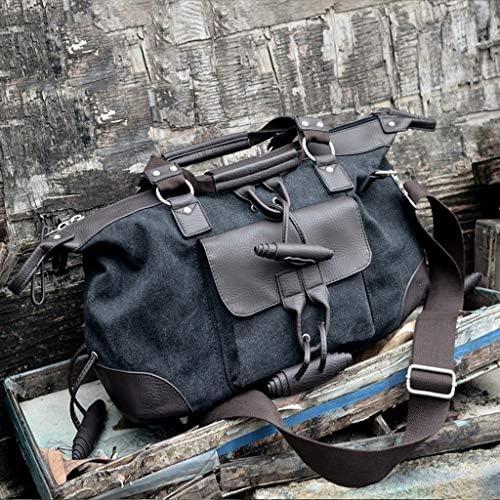 ポータブルメンズ大容量キャンバストラベルフィットネスバッグ多機能アウトドアゴルフの服バッグは摩耗やスクラッチプルーフブラック HMMSP