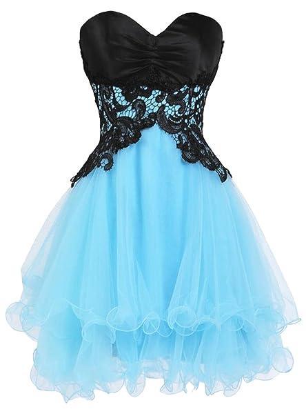 ASVOGUE Vestido de Dama de Honor Corto Baile en Fiesta de Volver para Jovenes, Azul