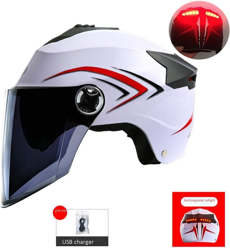 Casco Moto Jet Casco Moto Scooter con Luz Trasera LED Doble Visera ...