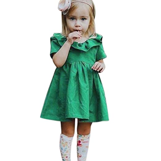 82ab702fd12c6 Goodlock Kids Toddler Infant Fashion Dress Baby Girls Solid Ruffle Bowknot  Princess Dresses Outfits