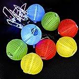 CrazyFire 16ft/5m LED Solar String Lights,20 Paper Lantern String Light Multi-color Solar Powered Party Decorations String Lights For Party Decorations Fairy Light With 3 Modes