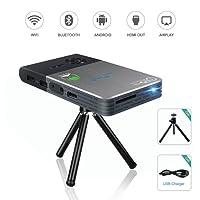 Mini Projektor, OTHA Android DLP LED Beamer WiFi, Tragbarer Heimkino Handy Projector Trapezkorrektur mit USB, HDMI, 5000mAh Akku Videoprojektor Für iPhone Smartphone