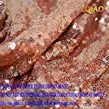 Rose Gold Sewing Sequin Fabric Sequin Lace Fabric Sold By the Yard for Costumes Sequin Knit Fabric, Tablecloth, Table Runner, Sequin Backdrop Wedding Dress Decorations(1 yard) (Rose Gold, 1 Yard)