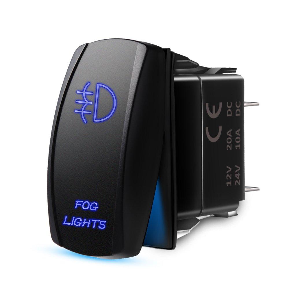 On//Off LED Light Blue MicTuning LS081602JL Backlit Fog Lights Rocker Switch Kit 20A 12V Toggle