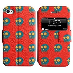 LEOCASE Blue Skull Funda Carcasa Cuero Tapa Case Para Apple iPhone 4 / 4S No.1002134
