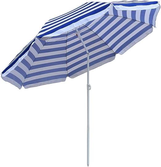 Sombrilla de jardín Greenbay para jardín, playa, parasol, paraguas al aire libre, inclinación, plegable, color azul y blanco, 160 cm: Amazon.es: Jardín