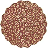 "Unique & Custom {17'' Inch} Single Pack of Round ""Non-Slip Grip Texture"" Large Reversible Table Placemat Made of Washable 100% Cotton w/ Quilted Floral Botanical Country Design [Colorful Red & Gold]"