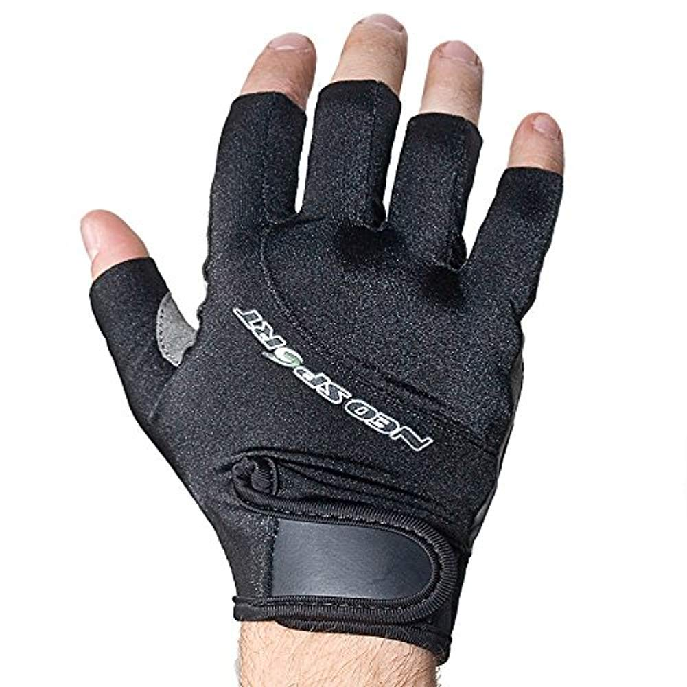 NeoSport 3/4 Finger Neoprene Gloves, 1.5mm - Unisex Design for Obstacle Racing, Biking, Sailing and Paddle Boarding - Offer Protection and a Reliable Grip - Soft, Comfortable Fit, Black, Small by Neo-Sport