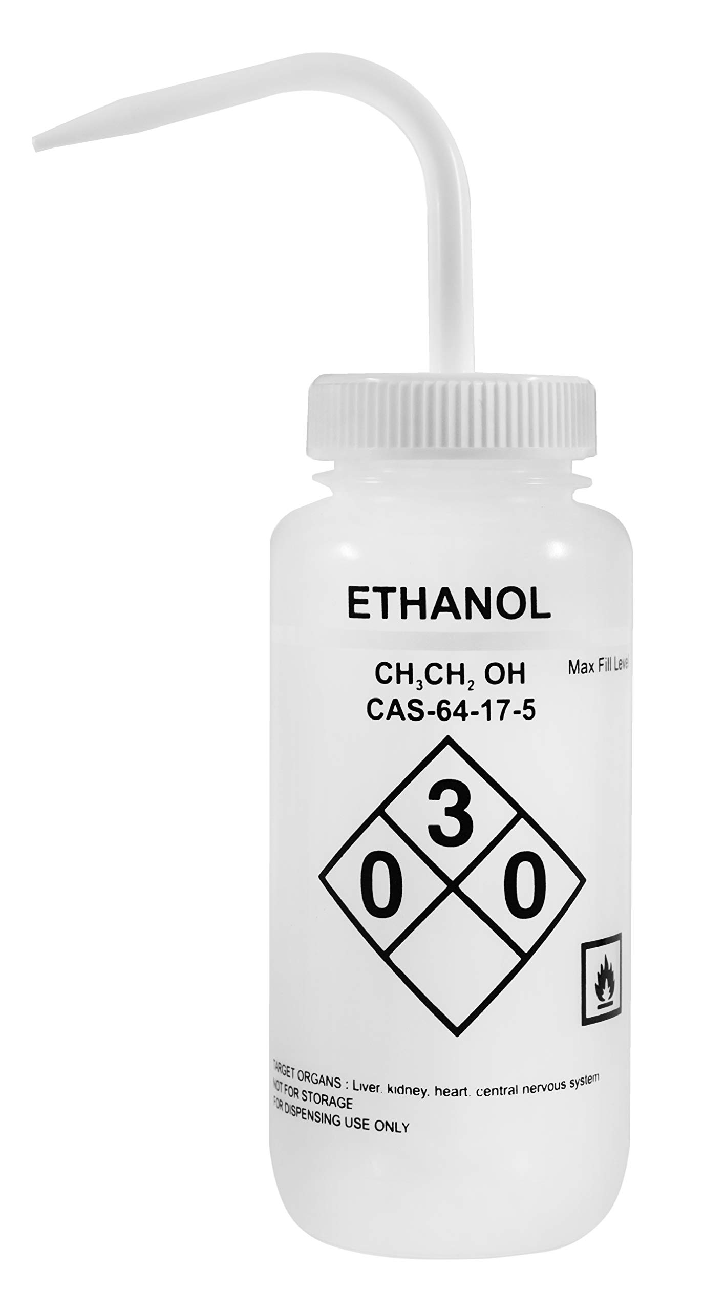 500ml Capacity Labelled Wash Bottle for Ethanol - Color Coded White - Self Venting, Low Density Polyethylene - Eisco Labs by EISCO